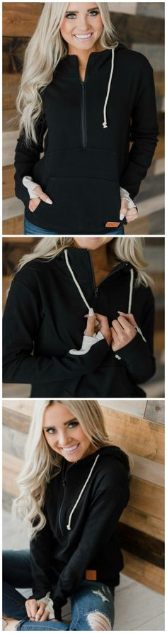 Black Halfzip Hoodie, perfect for nursing moms! via Mindy Mae's Market