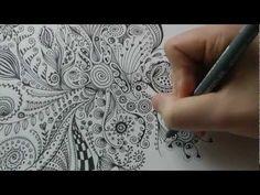 Zentangle Zeichnung #3 * Zeitraffer - YouTube
