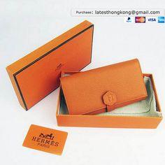 1a81b178d7 Hermes Dogon Zip Orange Togo Leather Sliver Hardware Women's Wallets wallet  for men
