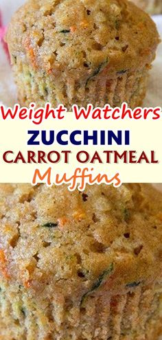 Weight watchers muffins - Zucchini Carrot Oatmeal Muffins, made with whole wheat and golden raisins, are the perfect option for a healthy, wholesome and delicious breakfast or snack zucchini carrot oatmeal muffins Skinnyrec Weight Watchers Zucchini, Weight Watcher Desserts, Weight Watcher Muffins, Weight Watchers Breakfast, Weight Watchers Snacks, Skinny Recipes, Ww Recipes, Cooking Recipes, Recipies