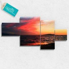 Obraz na płótnie Fototapeta czerwony zachód słońca czteroczęściowy. #obraz #fotografia #sztuka #morze #zachód #słońce