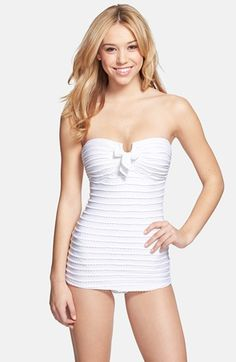 Jessica Simpson 'Seashells' Bandeau One-Piece Swimsuit available at #Nordstrom