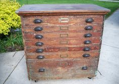 Industrial Primitive Wood 7-Drawer Cabinet For Collections, Storage, Organizer, Printers type - Loft And Apartment Decor - Shipping Reduced. $430.00, via Etsy.