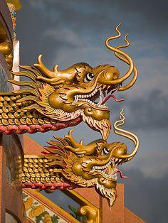 temple dragons, Kanchanaburi, Thailand