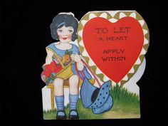 Vintage Valentine  Card Heart To Let by QuaintCollectibles on Etsy https://www.etsy.com/listing/67273210/vintage-valentine-card-heart-to-let