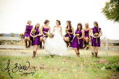 Purple and yellow. Ranch Wedding. Cowboy boots with bridesmaids dress.  Ashley Blake. A. Blake Photography