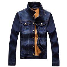 Winter Fashion Korean Style Thicken Warm Slim Fit Denim Jacket For Men - Gchoic.com