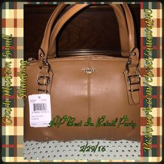 """Coach Madison Leather Small Bag Coach Madison Leather Small Bag Color: SV/Burnt Camel Leather Inside slip pocket Zip-top closure, fabric lining Handles with 6"""" drop Approximately: 10.5"""" L x 6.5"""" H x 4"""" W Coach Bags Totes"""
