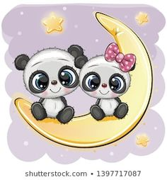 Two cartoon pandas are sitting on moon vector image on VectorStock Unicorn Pictures, Cute Cartoon Pictures, Bear Pictures, Cute Pictures, Panda Wallpapers, Cute Cartoon Wallpapers, Cute Panda Drawing, Kids Cartoon Characters, Cute Panda Wallpaper
