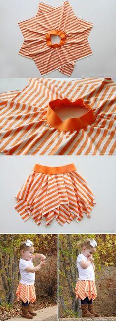 Micro Tuto : une jupe en moins d'une heure avec 2 morceaux de jersey et un élastique large !