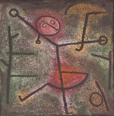 Paul Klee: Dancing Girl 1940 he used contour lines that give an effect of a girl that is dancing. he used thicker lines in the front to show the girl in a bigger shape than the background. Acrylic Painting Lessons, Watercolor Paintings Abstract, Watercolor Artists, Painting Art, Kandinsky, Klimt, Dance Paintings, Portrait Paintings, Indian Paintings