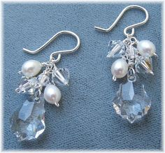 Freshwater Pearl and Swarovski Crystal Cluster by BridalDiamantes