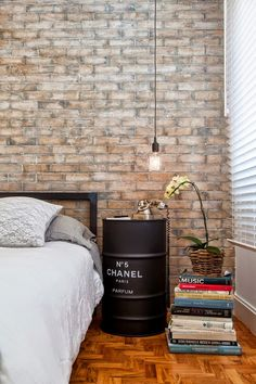DIY Inspiration: Chanel Barrel Side Table. Spotted at Casa de Valentina: Teffy Morin's open house in Brazil. You can find suggestions for Chanel-like fonts here.