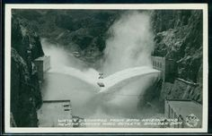 Nevada Water Discharge Boulder Dam Frashers Foto Vintage Real Photo Postcard B5097