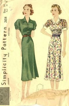 "The slim, willowy look of this dress is pure 1930s, but you'll notice that the skirt flares a bit and is not as long as earlier skirts from this decade. We're heading into the 1940s ""swing"" era now!"