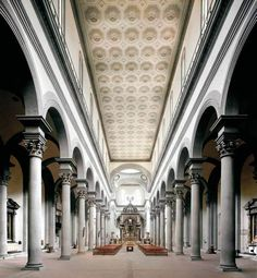 Inside the Santo Spirito Church.  Architect: Filippo Brunelleschi. Florence, Italy. built 1436-82