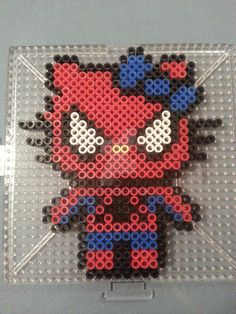 Hello Kitty Spider-Man Perler Figure by AshMoonDesigns.deviantart.com on @DeviantArt