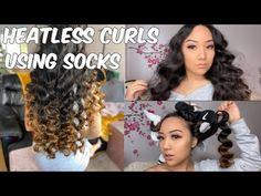 HEATLESS CURLS USING SOCKS   ELLIENA ROSE ANNE - YouTube Diy Hair Curlers, Hair Curlers Overnight, Sock Curls, Guy, Tight Curls, Curled Hairstyles, Girly Girl, Hair Makeup, New Fashion