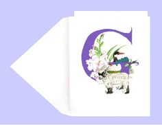 Greeting Card Letter S Swans Sunflowers Personalized Letter S