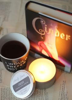 CINDER inspired bookish candle from Novelly Yours! Photo and review from Sincerely, Sarah Buy the candle at the Novelly Yours Etsy shop! http://www.etsy.com/shop/novellyyours