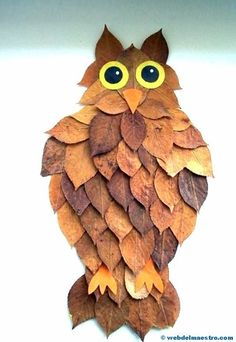 materials, tinker with natural materials - great craft ideas for children and . - Bastelideen - Natural materials, tinker with natural materials - great craft ideas for children and . Kids Crafts, Leaf Crafts, Owl Crafts, Fall Crafts For Kids, Toddler Crafts, Projects For Kids, Diy For Kids, Art Projects, Arts And Crafts