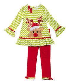 Love this Rare Editions Lime Reindeer Appliqué Tunic & Red Leggings - Girls by Rare Editions on #zulily! #zulilyfinds