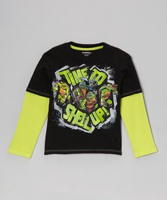 Take a look at this Black & Yellow 'Time to Shell Up' Layered Tee - Kids by Teenage Mutant Ninja Turtles on #zulily today!