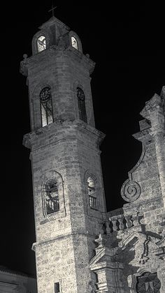 Havana Cathedral Tower Night by Joan Carroll at Fine Art America