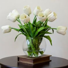 LARGE Real Touch Tulip Arrangement with Ivory Tulip Flowers Artificial Faux in Round Vase for Home Decor and Silk Centerpiece Real Touch Tulip Arrangement with White Tulip Flowers by flovery Tulpen Arrangements, Silk Floral Arrangements, Artificial Flower Arrangements, Artificial Flowers, White Tulips, Tulips Flowers, Fake Flowers, Silk Flowers, Ranch Decor