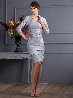 Sheath/Column Strapless Sleeveless Short Taffeta Mother of the Bride Dresses