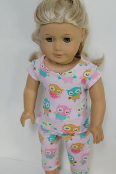 Cute Pink Owl Pajama Set for American Girl or by OrangeDotDesigns, $12.00