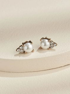 Classic everyday pearl studs embellished with mini crystals for a vintage, romantic look. Pairs well with everything you already have, and make a great gift too. Pearl Stud Earrings, Pearl Studs, Pearl Jewelry, Women's Earrings, Earrings Online, Statement Earrings, Jewelry Necklaces, Bracelets, Wedding Earrings Drop