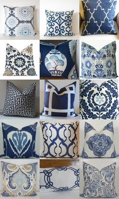 The Enchanted Home, gorgeous blue and white pillows!