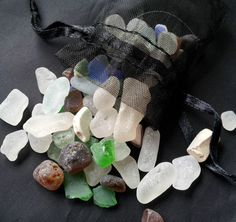 Mini Cornish SEA GLASS Filled Pouch for Altar & by wildseawitch..Can be used in spells