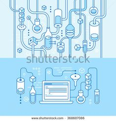 Vector horizontal banners in trendy flat linear style for websites for app development business - chemistry and lab illustration