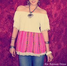 Bohemian top off shoulder tunic Boho Hippie Mexican style shirt neon pink Upcycled clothing OOAK by TheBohemianDream