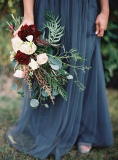 dusty blue and burgundy  perfect fall wedding palette   