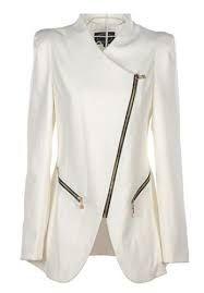 white plus size asymmetrical jacket