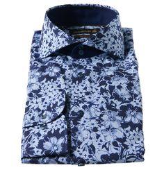 Jacques Britt Businesshemd, custom fit, floraler Allover-Print, Haifisch-Kragen 15 blau