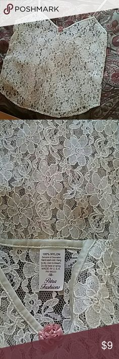 Cami by Petra Fashions Lacey, floral cream cami for any outfit!  Can be worn alone with jacket or under sheer blouses. NWOT Petra Fashions Tops Camisoles