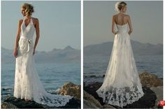 y2014 Stunning Sexy New Beach Halter V Neck Lace Bridal Gown Wedding Dresses new