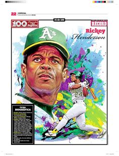 Rickey Henderson 100 Leyendas del Deporte / 100 Sports Legends by Jesús R. Sánchez, via Behance