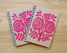 Set of Two Block Printed Notebooks. via Etsy.