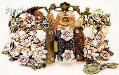 Michal Negrin Pink White Crystals Beads Crochet Bracelet