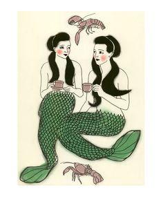 Mermaid art print by a Sydney based artist/illustrator Sam Battersby {aka Matou en Peluche)