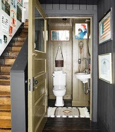 The Shaffers refashioned the hall closet into a powder room