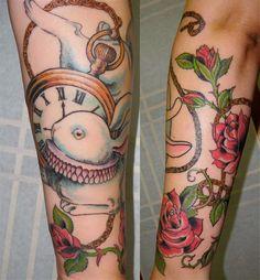 Clock and rabbit tattoo