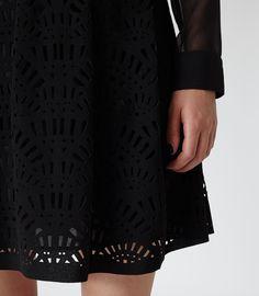 Womens Black Cut-out A-line Skirt - Reiss Karlotta