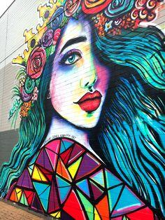 Local street art Love Graffiti, Street Art Graffiti, City Clean, School Murals, Urban Street Art, Sidewalk Art, Amazing Street Art, Salon Ideas, Dope Art