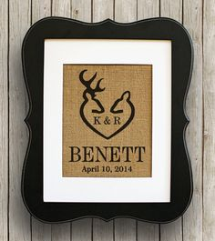 Deer Rustic Wedding Decor on Burlap  Buck and by 33marketstreet, $20.00